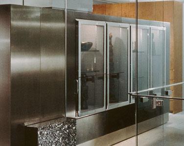 Custom metal fabrication furniture stainless display case for Custom stainless steel cabinet doors